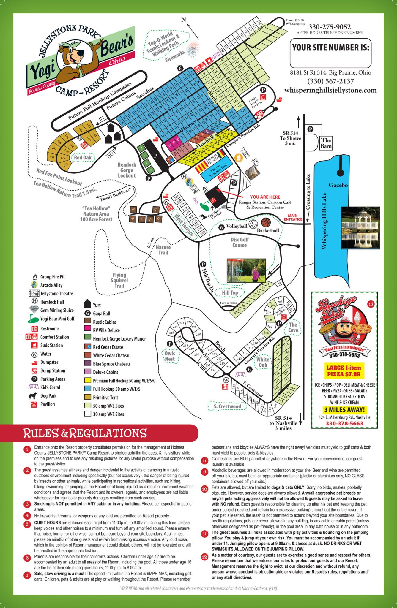 Jellystone Park Map Site Map   Whispering Hills Jellystone Park