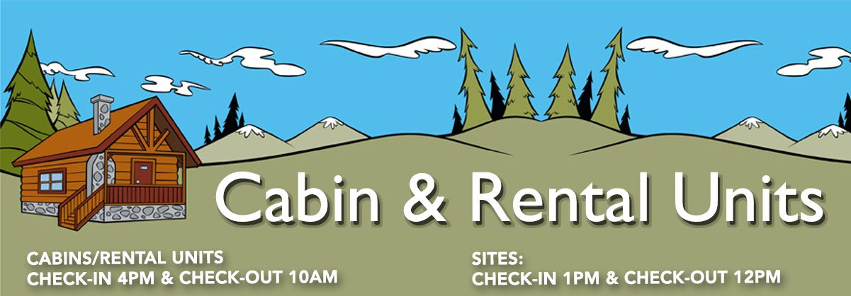 cabin rental check in out times