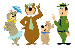 cindy bear, yogi bear, boo boo bear and ranger smith